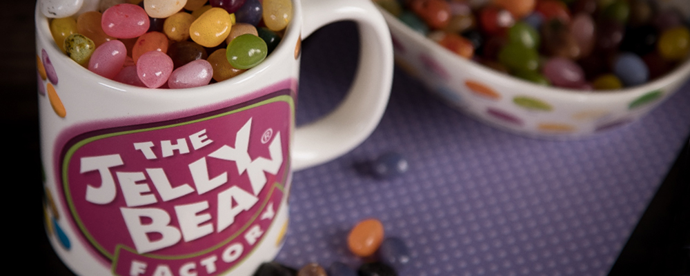 Mug and bowl of Jelly Bean Factory gourmet jelly beans