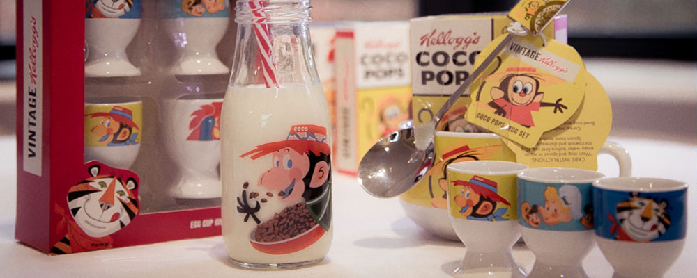 Vintage Kellogg's gifts including egg cup set, Coco Pops and milk bottle