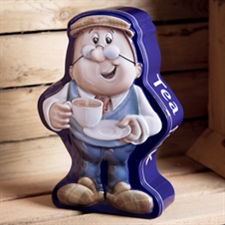 Tetley tin of teabags in the shape of one of the Tetley characters